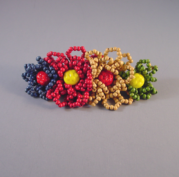 MIRIAM HASKELL beaded bar brooch red, blue, green, yellow