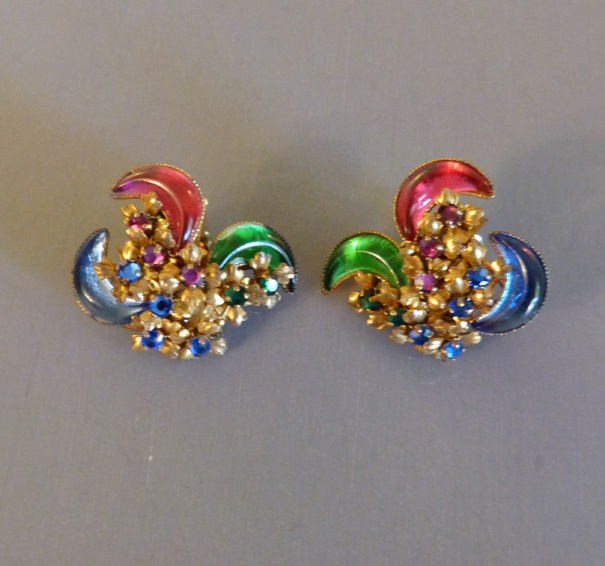 MIRIAM HASKELL earrings with lovely rose, blue, green crescents