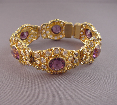 HOBE bracelet with brilliant clear and purple unfoiled rhinestones