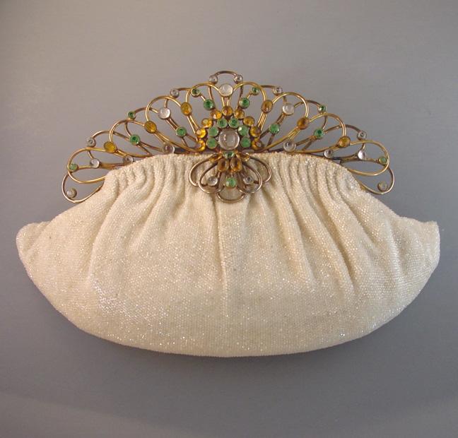 HOBE Josef beaded purse with rhinestones frame 1950