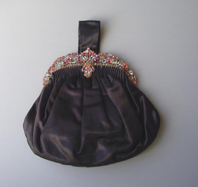 HOBE framed purse with pastel aqua, pink, rose & lavender rhinestones