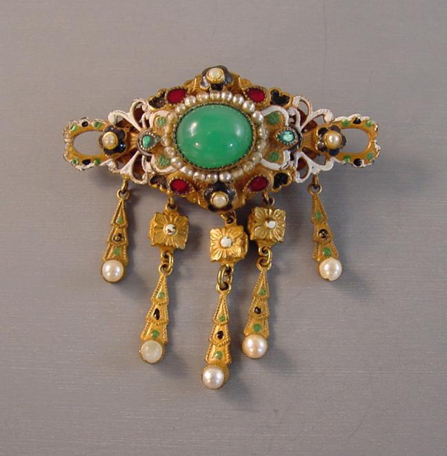 HOBE brooch green & enamel, Austro-Hungarian Revival