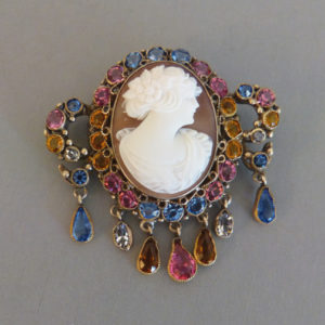Hobe Sea S Cameo Brooch With Pink Blue Clear