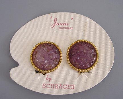 JONNE by Schrager round purple-pink molded glass earrings