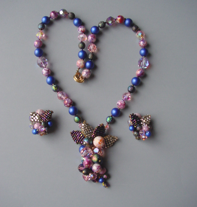 JONNE necklace and earrings in purples, pinks and blues