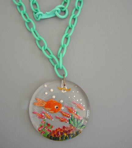 JUDY CLARKE reverse carved fish pendant