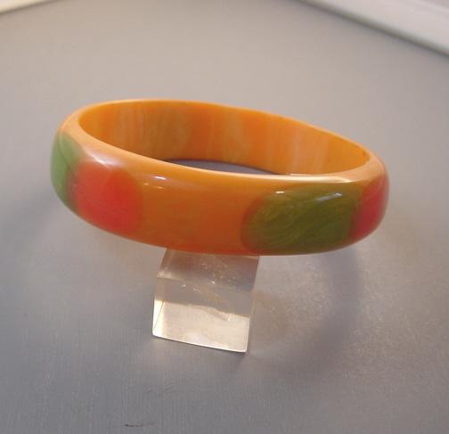 KRONIMUS bakelite peach bangle with dots