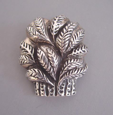 DIAN MALOUF unsigned sterling basket of wheat sheaves brooch