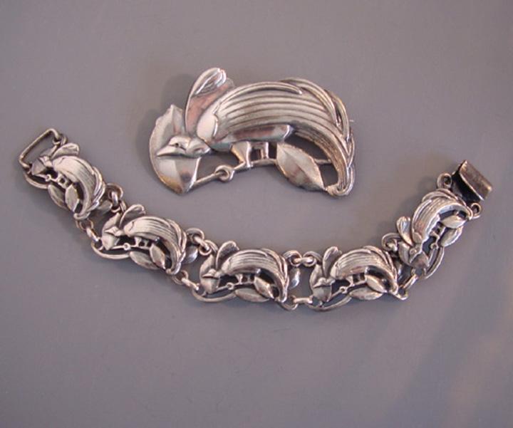 McCLELLAND BARCLAY sterling bird bracelet and brooch