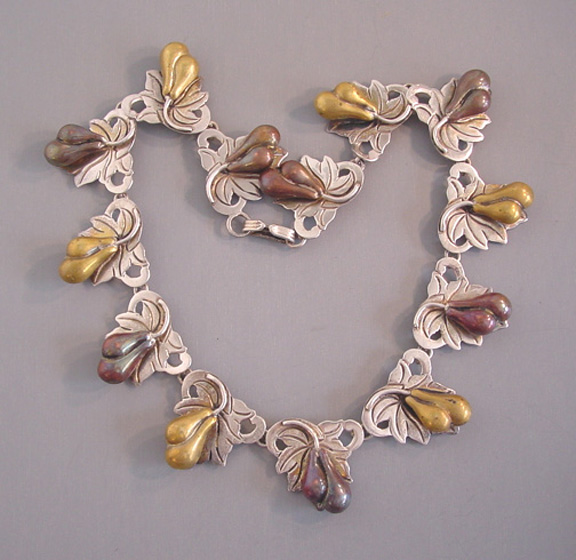 BERNICE GOODSPEED Mexico silver, brass and copper pears necklace