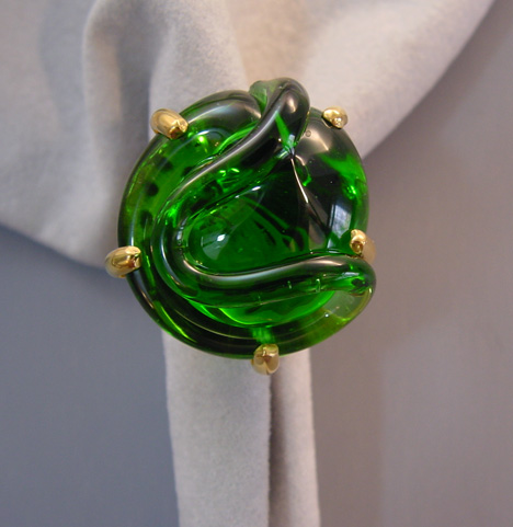 MARIQUITA MASTERSON green glass ring sterling silver