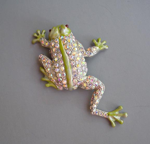 GREEN iridescent enameled figural frog brooch