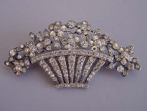 CLEAR paste rhinestones set in silver tone basket brooch