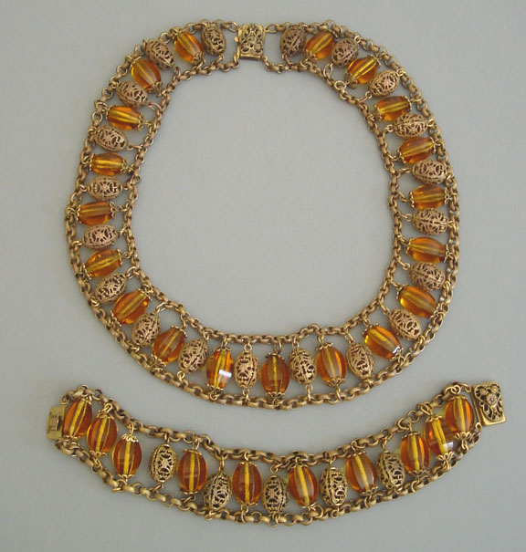 MIRIAM HASKELL beads collar necklace & bracelet