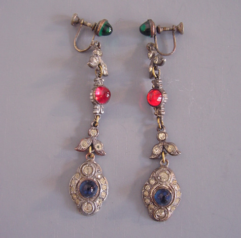 PASTE dangle earrings with red, blue and green circa 1920-30s