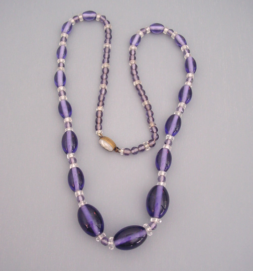 CZECH purple glass beads necklace