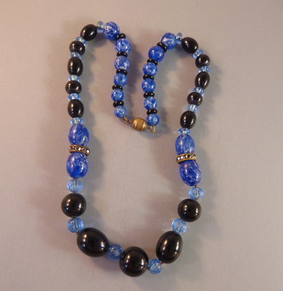 FRENCH Art Deco blue bead necklace marcasites