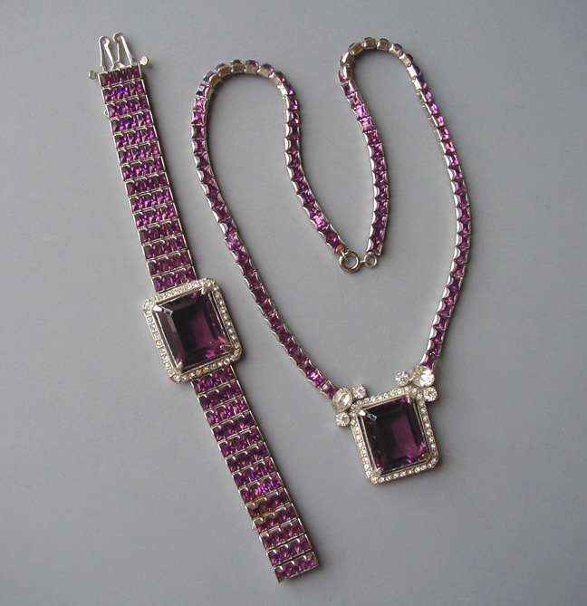 PURPLE & clear rhinestone pendant necklace & bracelet