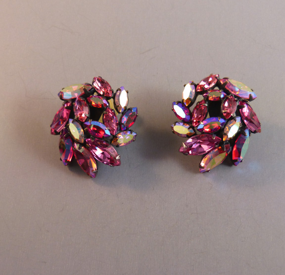 REGENCY rose pink and aurora borealis marquis rhinestone earring
