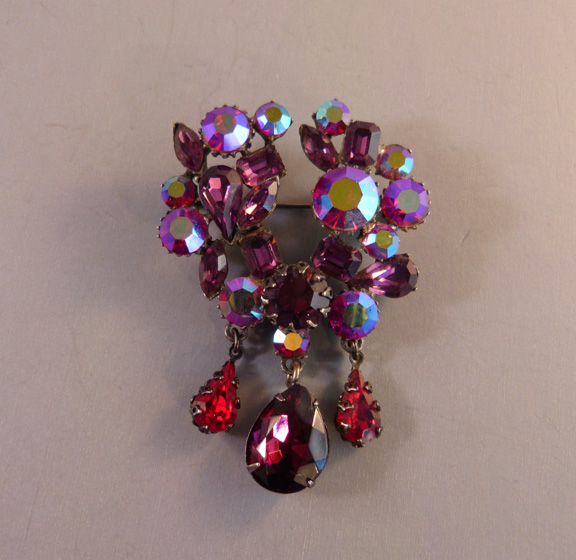 PURPLE and red rhinestones and aurora borealis brooch