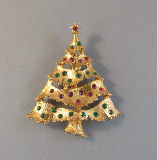 Jewel Christmas Tree Decorations: CHRISTMAS Tree Brooch With Red And Green Rhinestone