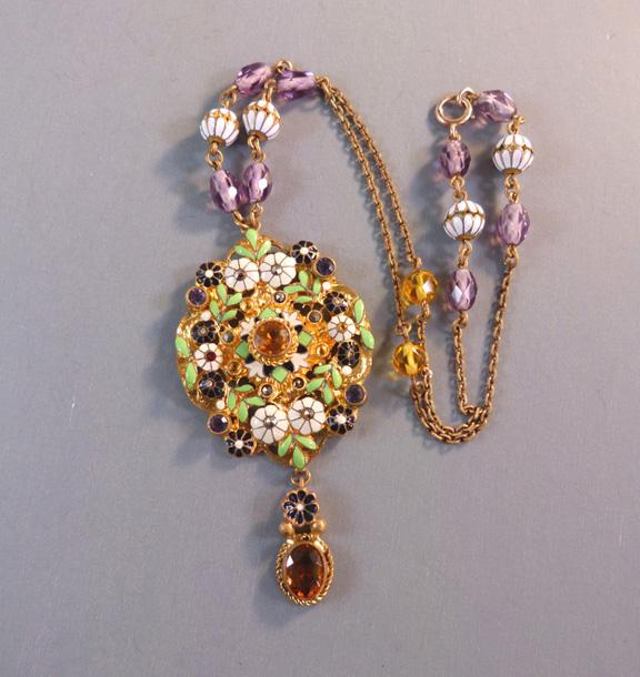 AUSTRIA enameled pendant with enameling, marcasites, beads