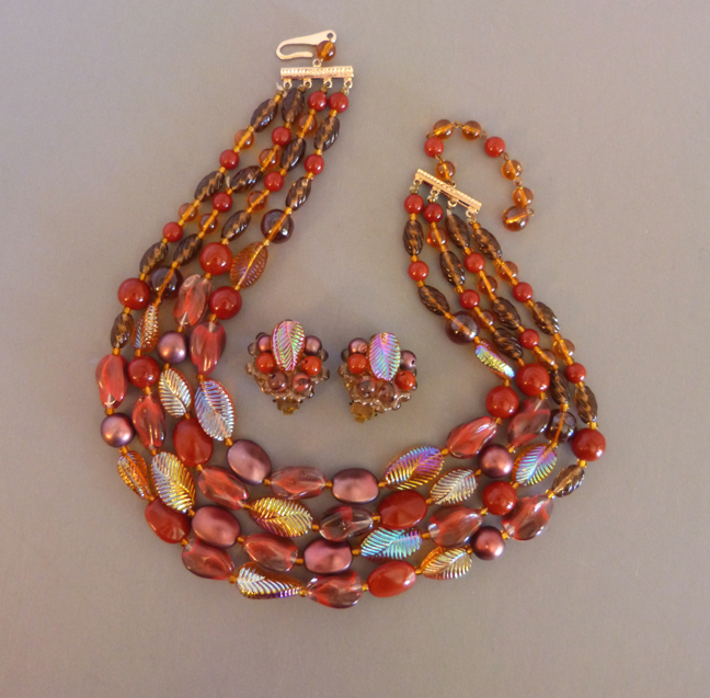 GERMAN four-stand necklace & earrings iridescent pink & brown
