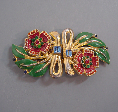FLOWERS enameled Duette style brooch