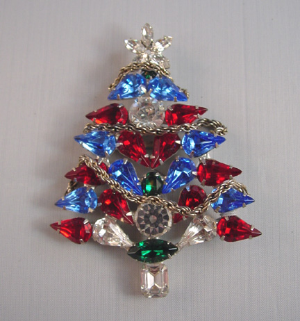 CATALANO Christmas tree brooch with red, clear, green