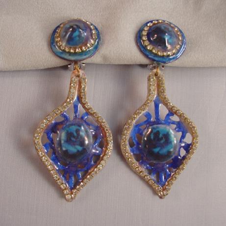 JOSEPH GOURDJI blue enamel on copper dangly earrings