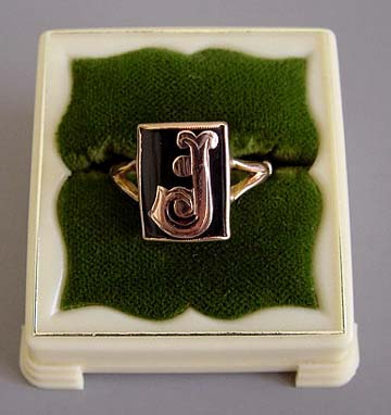 "VICTORIAN ring 9k gold & black ring initial ""J"""