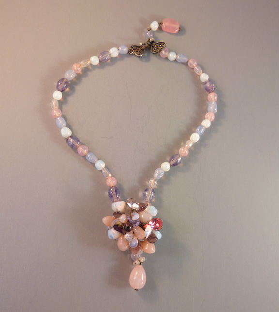 L. ROUSSELET unsigned French pastel glass necklace