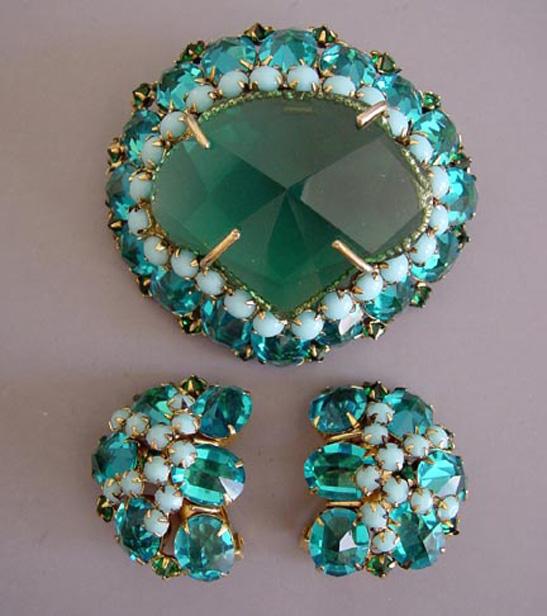 SCHREINER aqua & green rhinestones brooch & earrings