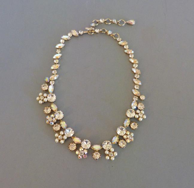 SCHREINER brilliant aurora borealis & pearl necklace