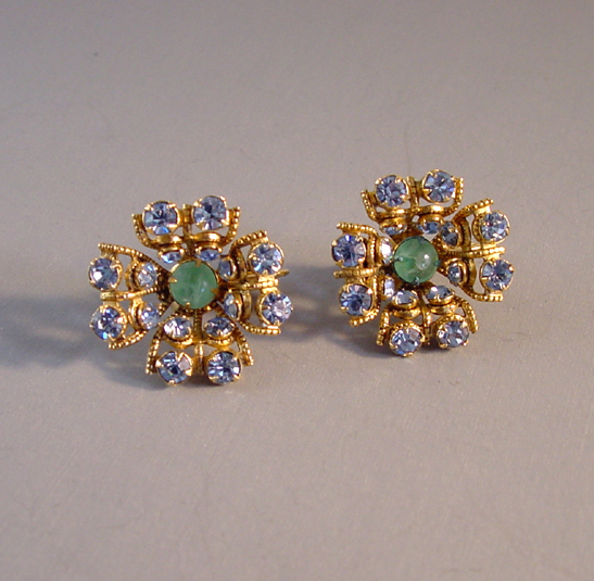 SCHREINER NY flower shaped earrings with pastel blue rhinestones