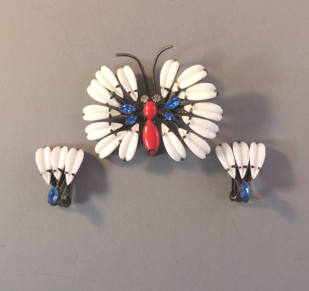 SCHREINER white red & blue butterfly brooch & earrings