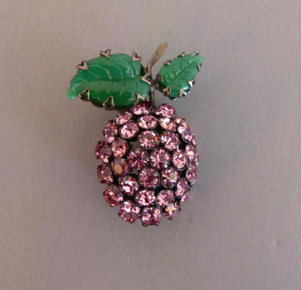 SCHREINER unsigned fruit brooch with pink rhinestones