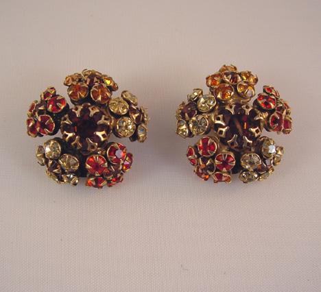 SCHREINER orange, topaz colored & yellow earrings