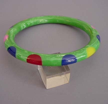 SHULTZ bakelite green marbled dot tube bangle