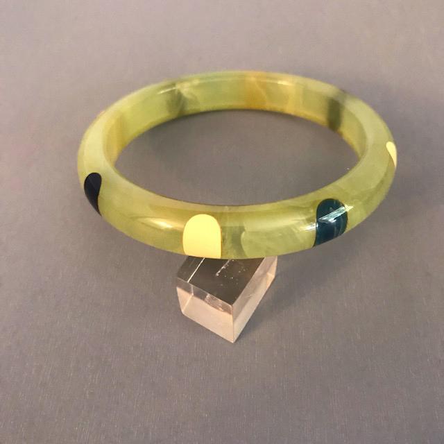 SHULTZ bakelite green translucent dot spacer bangle