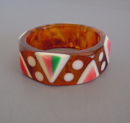 SHULTZ bakelite iced tea octagonal bangle with pastel
