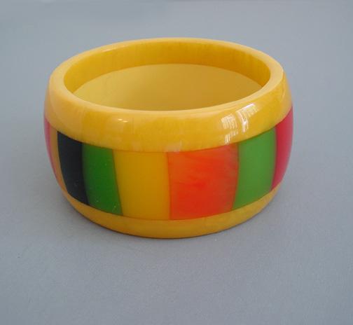 SHULTZ bakelite yellow marbled 3-layer laminate bangle