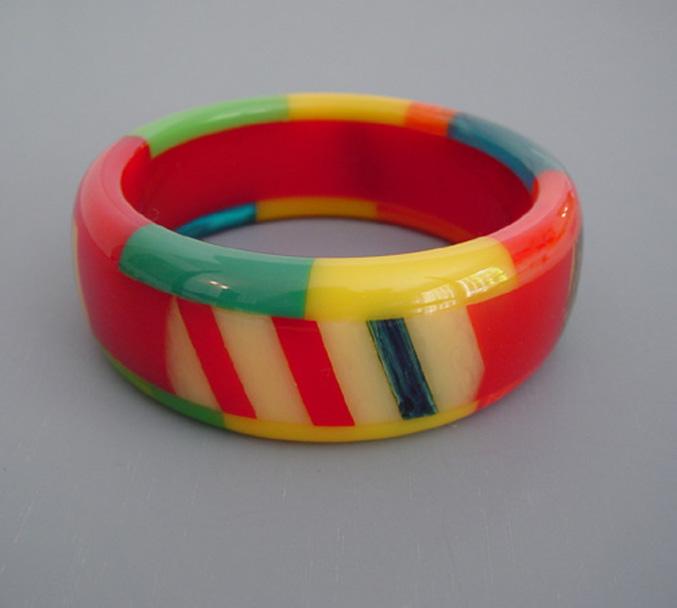 SHULTZ bakelite three row checks & stripes bangle