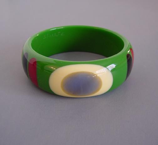 SHULTZ bakelite green bangle with dots