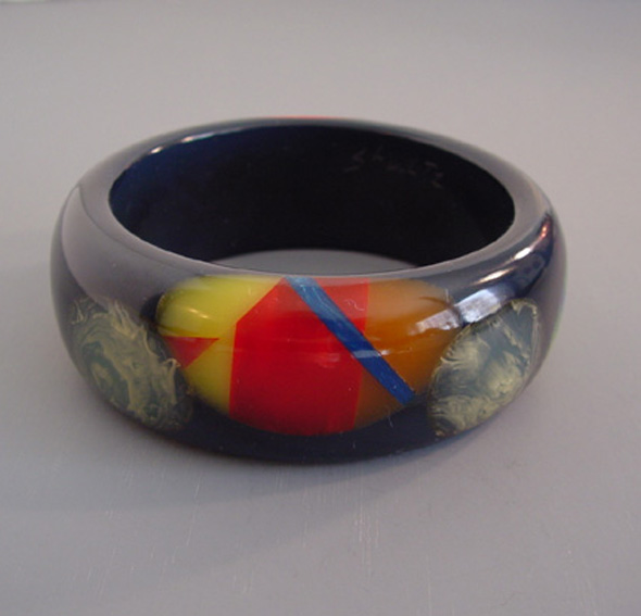 SHULTZ bakelite slate gray bangle with multi-colored dots
