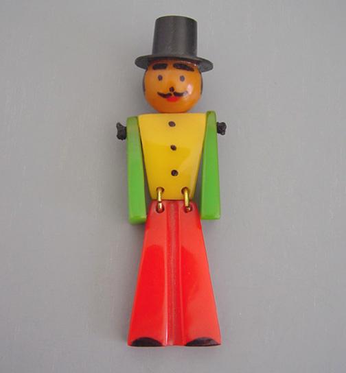 SHULTZ bakelite jointed man with top hat brooch