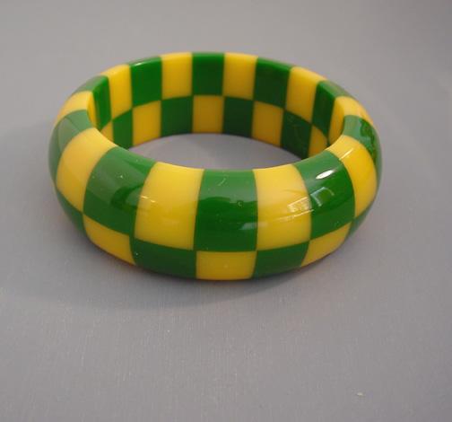 SHULTZ bakelite two row check bangle lemon yellow, grass green