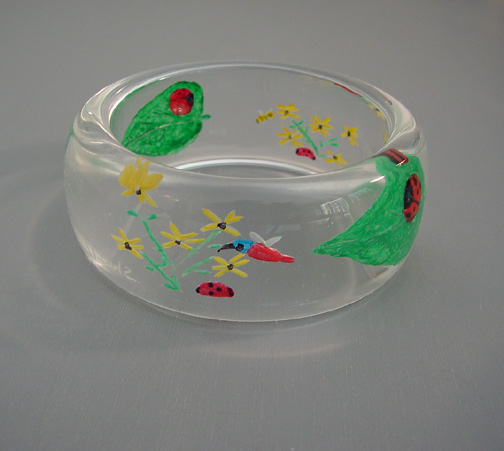 SHULTZ Lucite bangle reverse carved painted ladybugs
