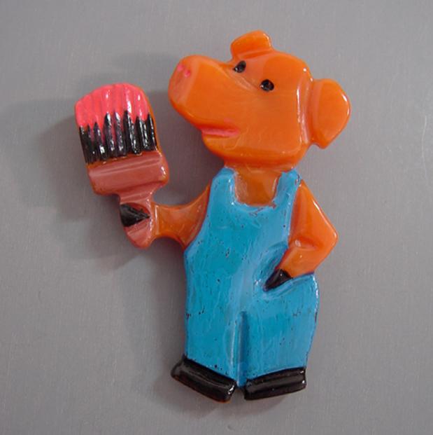 SHULTZ bakelite painter pig brooch