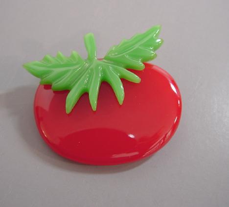 SHULTZ bakelite lovely red tomato brooch